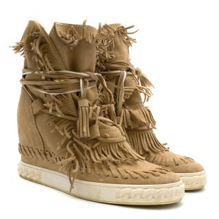 Casadei Fringed Suede Wedge Boots