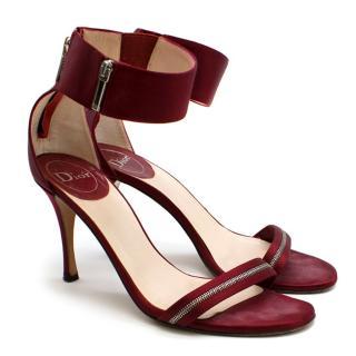 Dior Burgundy Satin Zip Detail Sandals