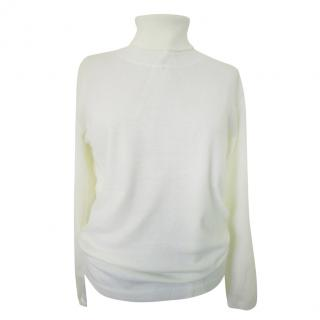 Max Mara White Roll Neck Virgin Wool Jumper