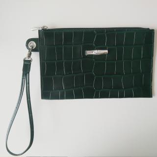 NEW Longchamp Roseau Crocodile Leather Pouch