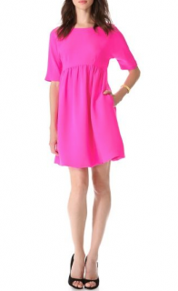 Lisa Perry Neon Pink Short Sleeved Silk Dress