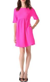 Lisa Perry Neon Pink Short Sleeved Silk Dress