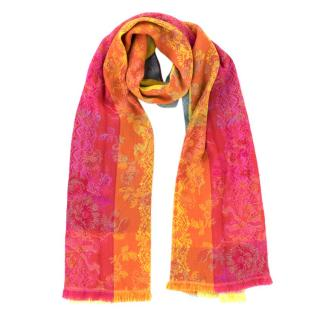 Kenzo Multi-Coloured Wool Scarf with Floral Embroidery