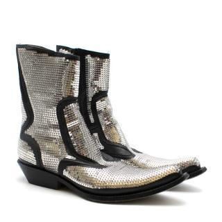 Gianni Barbato Black and Silver Sequin Cowboy Boots