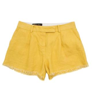 Loro Piana Yellow Linen Frayed Shorts