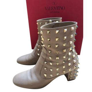 Valentino Rockstud Taupe Ankle Boots