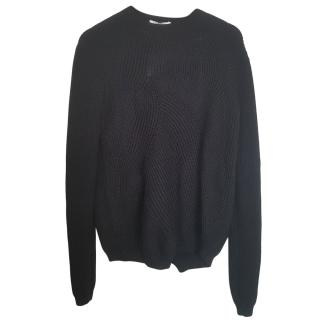 Max Mara Black Asymmetric Ribbed Knit Jumper