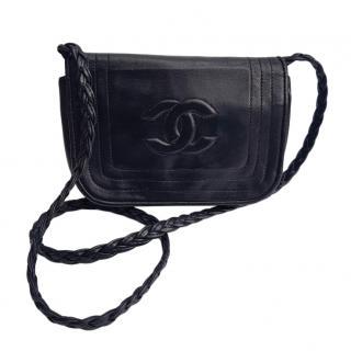 Chanel Vintage Black Leather Crossbody Bag