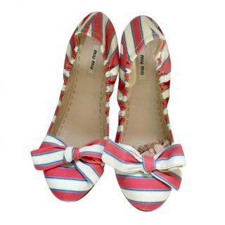 Miu Miu Striped Ballerina Flats, size 41 unworn