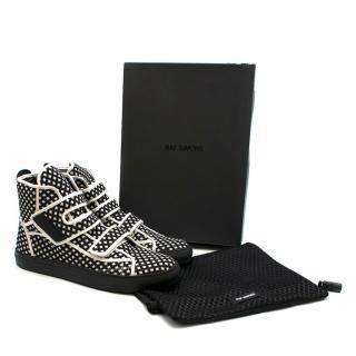 Raf Simons Black & White Diamond Check High-Top Sneakers