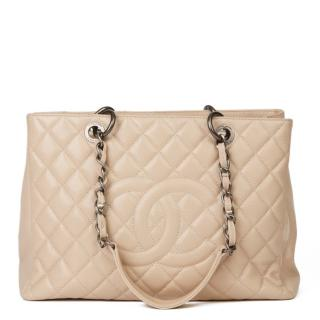 Chanel Caviar Leather Beige Grand Shopping Tote