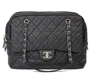 Chanel Black Caviar Leather Large Camera Bag