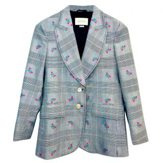Gucci Floral Embroidered Prince of Wales Check Blazer