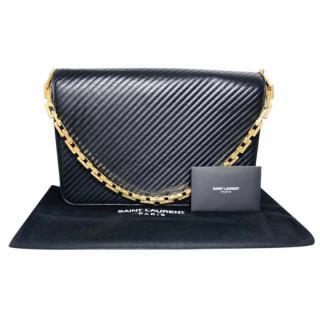 Saint Laurent Black Chevron Leather Shoulder Bag