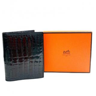 Hermes Alligator Mississippiensis Shiny Bi-Fold Wallet