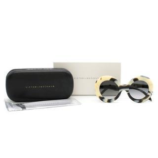 Victoria Beckham Creme Tortoiseshell Editors Edition Round Sunglasses