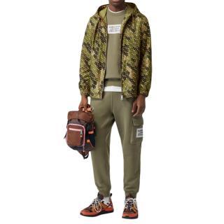 Burberry Monogram Print Nylon Hooded Jacket in Khaki Green