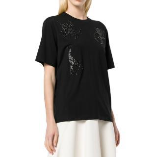 Victoria Victoria Beckham Black Beaded Safari T-shirt