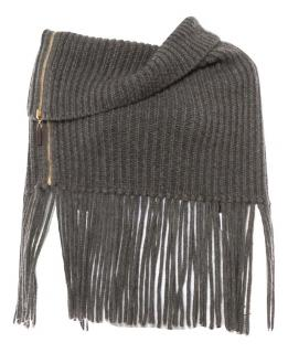 Gucci Grey Ribbed Knit Alpaca Wool Poncho