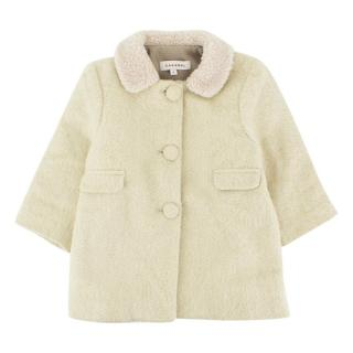 Caramel Light Green Wool Baby Coat