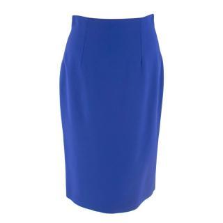 Alexander McQueen Blue Crepe Pencil Skirt