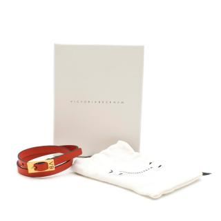 Victoria Beckham skinny double wrap red leather bracelet