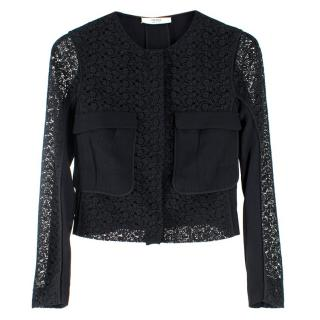 Prada Black Short Tailored Lace Jacket