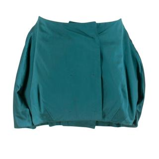 Prada Satin Button Down Puffed Mini Skirt