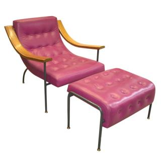 David Linley Pink Leather St Moritz Lounge Armchair & Ottoman