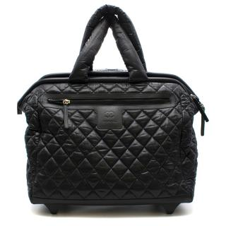 Chanel Black Quilted Nylon Coco Rolling Case