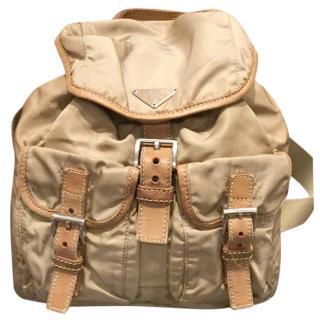 Prada khaki nylon backpack