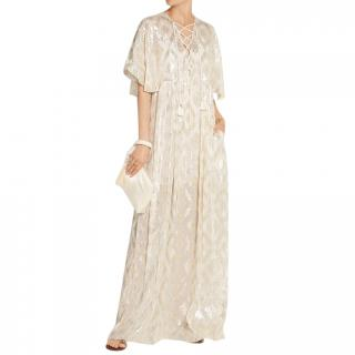 Rachel Zoe Net-A-Porter exclusive lace-up metallic fil coupe dress