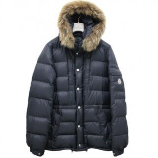 Moncler Blue Down Filled Fur trimmed hooded jacket