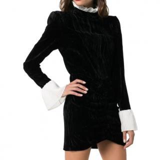 Rotate Miki Ruffle Trim Velvet Mini Dress in Black