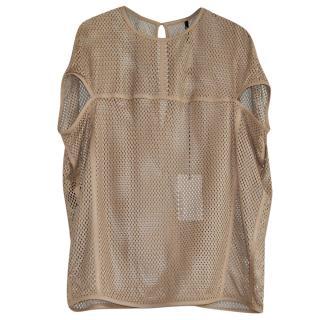 Neil Barrett oversized leather fishnet top