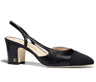 Chanel Goatskin & Grosgrain Black Slingback Sandals