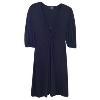 Just Cavalli Black Wool Blend Deep V Dress
