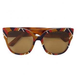 Gucci Eyewear multicoloured chevron square-frame sunglasses