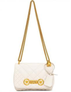 Versace White Quilted Leather Shoulder Bag