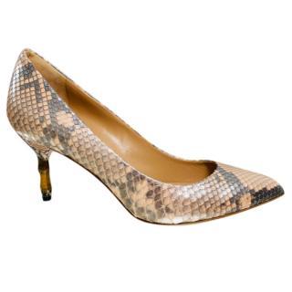 Gucci python skin bamboo heel pumps