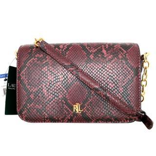 Lauren Ralph Lauren burgundy python print shoulder bag