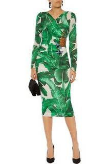 Dolce & Gabbana dragonfly and pineapple embellished stretch silk dress