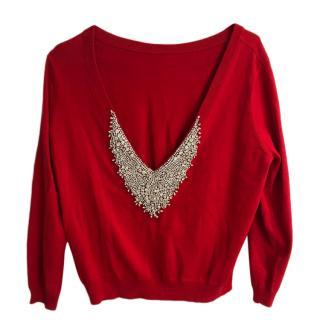Ba&sh embellished red cashmere jumper