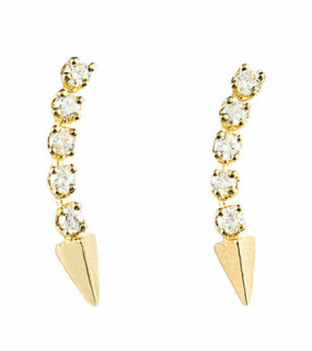 Loren Stewart Diamond Arc Pin Earrings