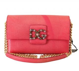 Dolce & Gabbana Pink Crystal Embellished Millenials Shoulder Bag