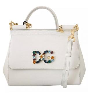 Dolce & Gabbana White Crystal DG Miss Sicily Bag