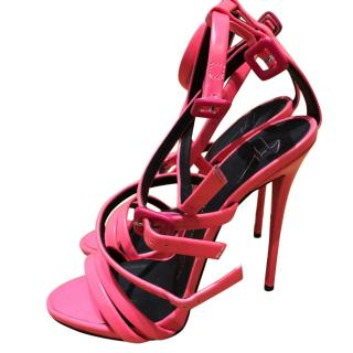 Giuseppe Zanotti Pink Leather Double Strap Sandals