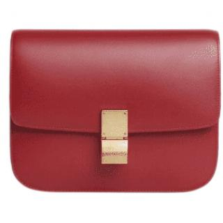 Celine Red Calfskin Medium Box Bag