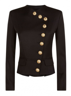 Balmain Short Black Asymmetric Jacket