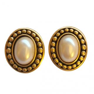 Yves Saint Laurent Vintage Faux Pearl Studded Earrings